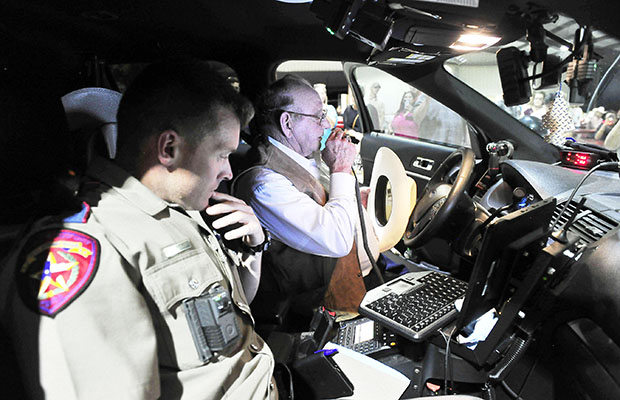 Sitting behind the wheel of a DPS patrol car, Don Van Zandt made his final sign off Wednesday evening, September 18, marking the end of his 51 years of service in law enforcement. Van Zandt has served in Sutton County for the past 32 years. DANNY MEYER | THE DEVIL'S RIVER NEWS