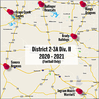 A map illustration shows the High Schools aligned in District 2 for the upcoming 2020 football season.